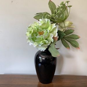 "Black Glazed Pottery Small Morden Vase 7"""